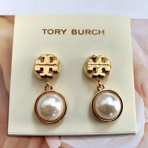 Tory Burch Logo Pearl Pendant Earrings